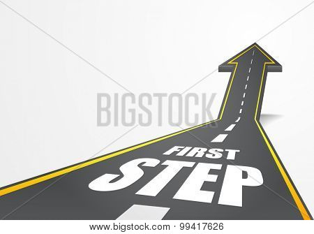 detailed illustration of a highway road going up as an arrow with First Step text, eps10 vector