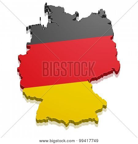 detailed illustration of a map of Germany with flag