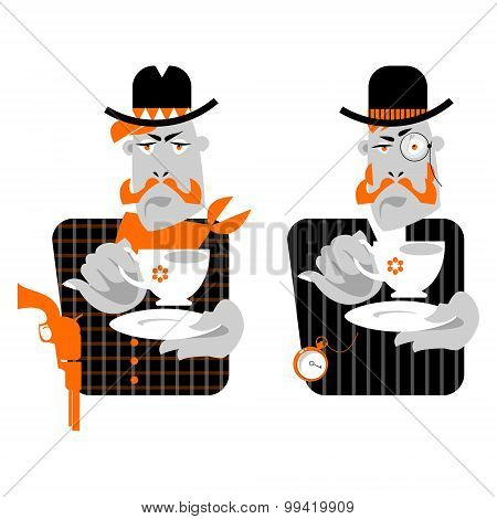 Set Of Man With Сup Of Coffee. Retro Style. Cowboy And Gentleman.