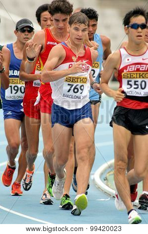 BARCELONA - JUNE, 13: Aleksandr Ivanov of Russia during 10000 metres race walk event of of the 20th World Junior Athletics Championships at the Stadium on July 13, 2012 in Barcelona, Spain