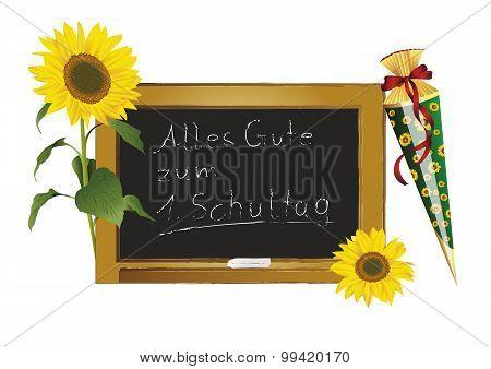 Blackboard and sunflowers