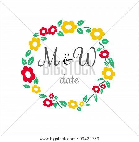 Vector flower circle wedding stamp with place for name of man and women date time