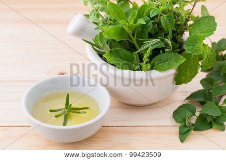 Alternative Health Care Fresh Herbal In White Mortar On Wooden Background.