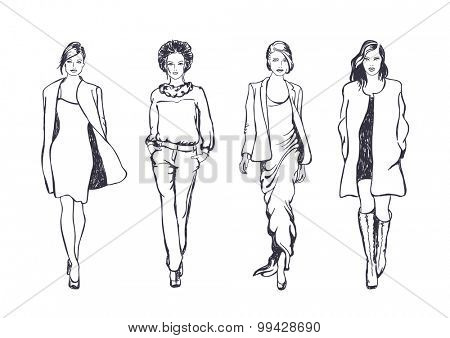 women fashion models, vector sketch style drawing
