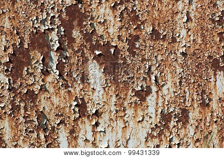Rusted metallic surface with flaky paint on it poster