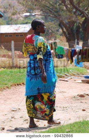 A Pregnant African Woman Walks In The Courtyard Of The Ipamba Hospital In Iringa In Tanzania - 239