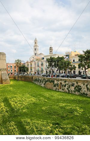 Center Of Bari, Italy, With The Tower Of Bari Cathedral