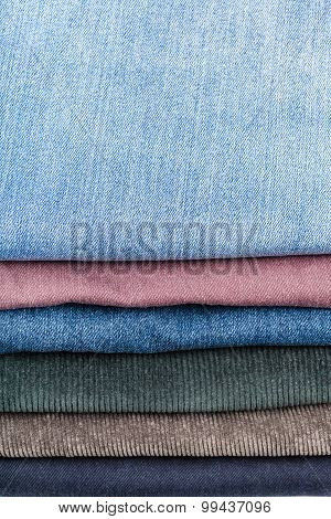 Stack Of Various Jeans Close Up
