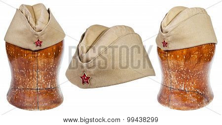 Set Of Military Field Caps With Soviet Red Star