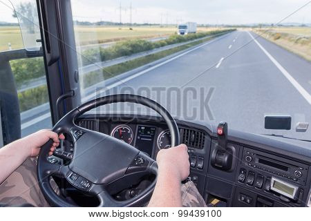Driving Truck On The Highway