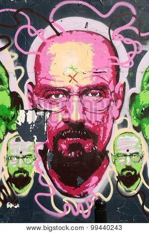 MONTREAL, CANADA, JUNE 3, 2015:  Breaking bad graffiti in pink.  Festival mural is a popular festival of street art which is a really popular art in Montreal.