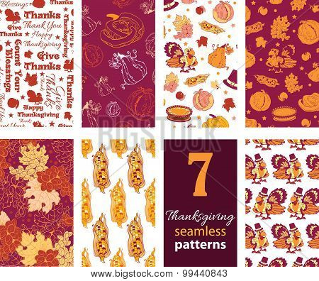 Vector Thanksgiving Turkey Pumpkins Seven Set Seamless Pattern. Canadian American. Typographic grape