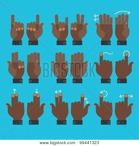 Multitouch gesture hands icons set
