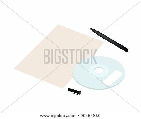 Compact Disc with Pen and Blank Paper