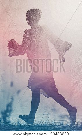 Woman Running To Freedom Through Countryside Field