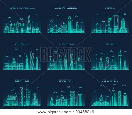 American cities San Francisco New York Chicago Los Angeles Miami Atlanta Boston Seattle Denver skylines detailed silhouette Trendy vector illustration linear style poster