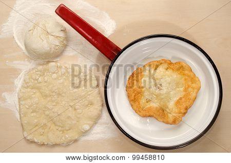 Home Made Hungarian Langos In A Pan