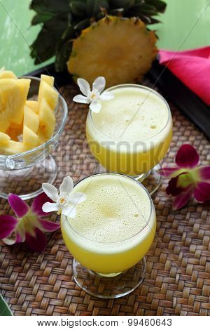 Pineapple Juice On Basketry  Background.