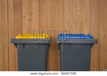 Two Colorful Recycle Bins