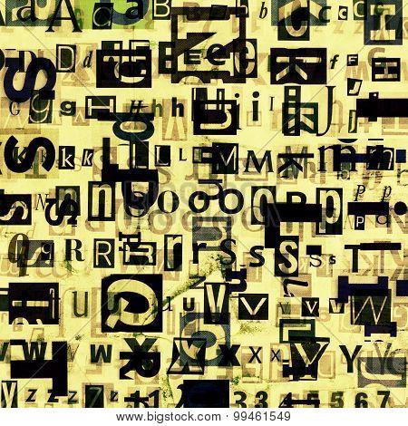 Grunge newspaper, magazine collage alphabet letters background. poster