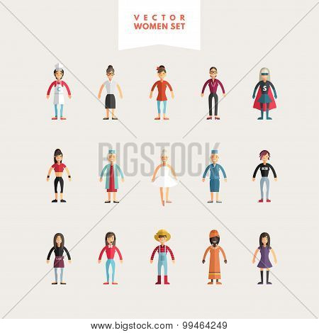 Set Of Flat Design Professional People Characters. Women Set. Cook, Teacher, Superwoman, Doctor, Dan