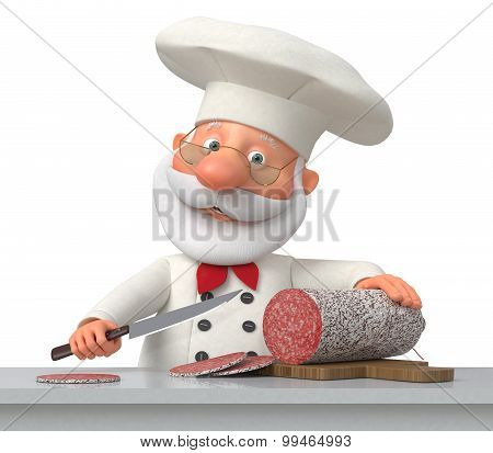 The Cook In Kitchen With Sausage
