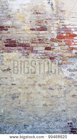 Decay Wall Mixed With Brick Background Vetical