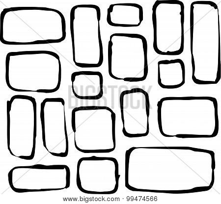 Hand Drawn Round Corner Rectangle And Square Shapes Over White