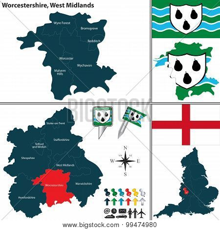 Vector map of Worcestershire in West Midlands United Kingdom with regions and flags poster