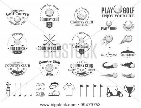 Golf Country Club Labels, Icons And Design Elements