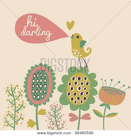 Pastel colored cartoon card in vector. Romantic background with cute bird and flowers. Hi darling concept card