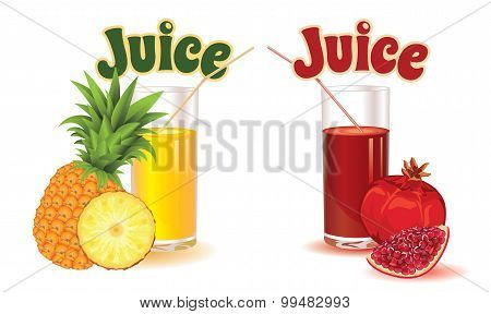 glasses for juice from pineapple and garnet isolated on a white background