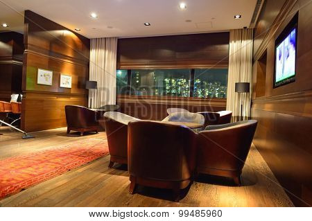 HONG KONG - MAY 31, 2015: The Empire Hotel Hong Kong - Causeway Bay interior. The Empire Hotel Hong Kong - Causeway Bay is owned and managed by Asia Standard Hotel Group Ltd