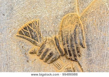 Hands relief detail Persepolis