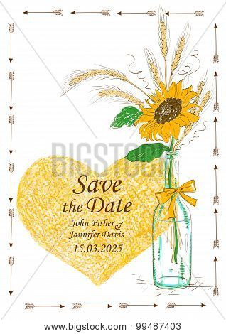 Wedding Invitation With Mason Jar And Sunflower