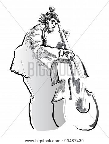 Man playing contrabass on white background.
