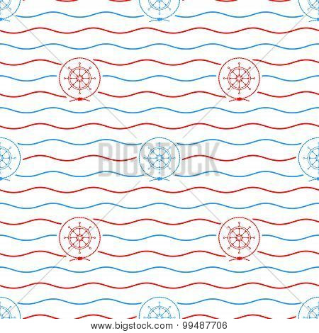 Ship's Wheel , Seamless Pattern