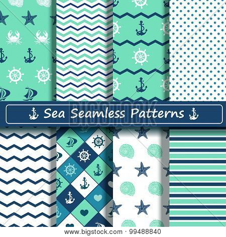 Set Of Sea Seamless Patterns.