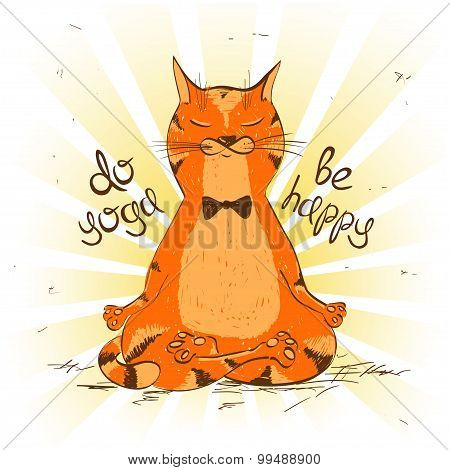Cartoon Red Cat Sitting On Lotus Position Of Yoga.
