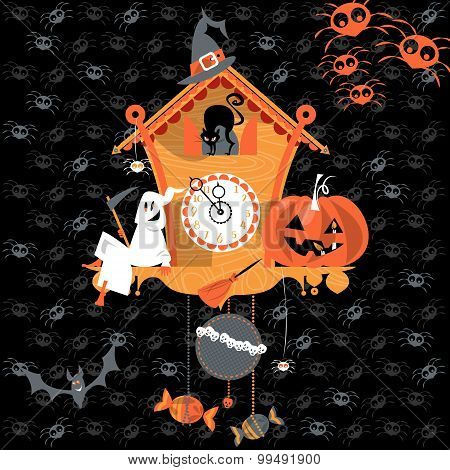 Cuckoo Clock With Ghost, Cat And Pumpkin. Halloween Style.