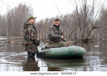 Hunters Put Stuffed Ducks