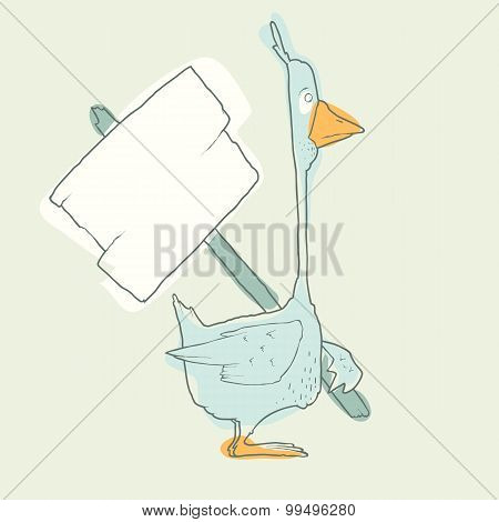 Cartoon Character Goose with wooden poster Isolated on White Background. Vector.