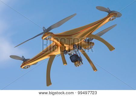 Gold Drone Flying In Blue Sky