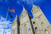 Temple of The Church of Jesus Christ of Latter-day Saints in Salt Lake City Utah. Salt Lake City is the capital and the most populous city in Utah poster