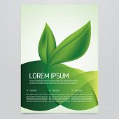 Vector eco flyer, poster, brochure, magazine cover template. Modern green leaf, environment design. poster