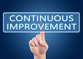 Continuous Improvement - hand pressing button on interface with blue background. poster