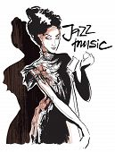 Musicans of jazz. Vector sketches.  Sketch of musicans. Vector lineart. Editable in several layers. poster
