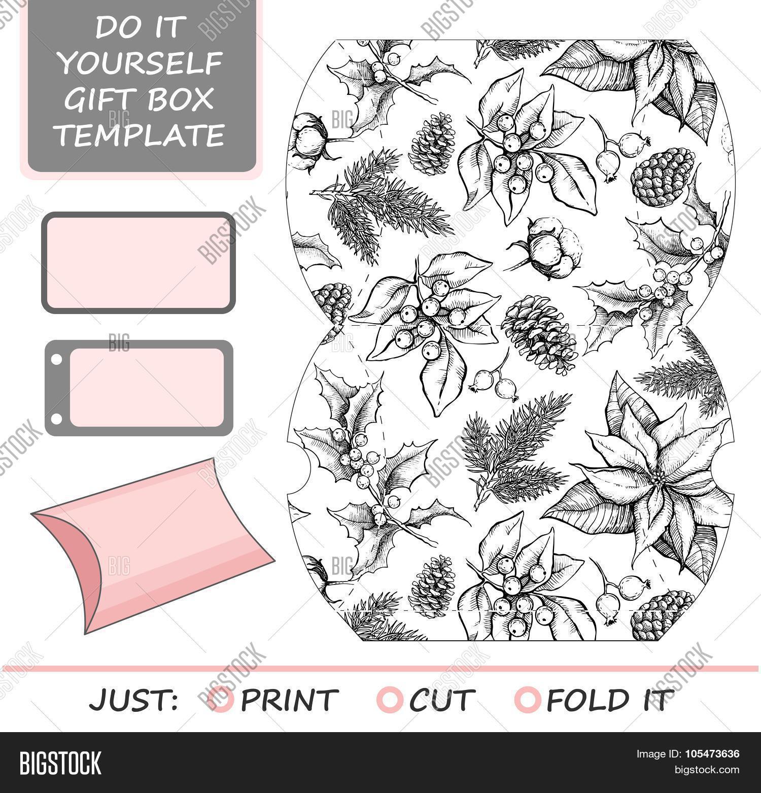 Favor gift box die cut box vector photo bigstock favor gift box die cut box template with winter floral pattern solutioingenieria Images