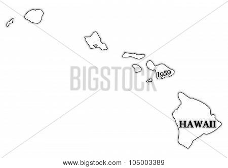 Hawaii State And Date Outline