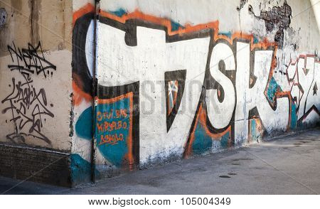 Street Art, Old Urban Wall With Grungy Graffiti